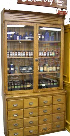 Drugstore Apothecary cabinet circa 1900.  Click on image to see what